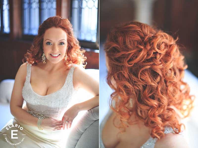 Red head in wedding dress